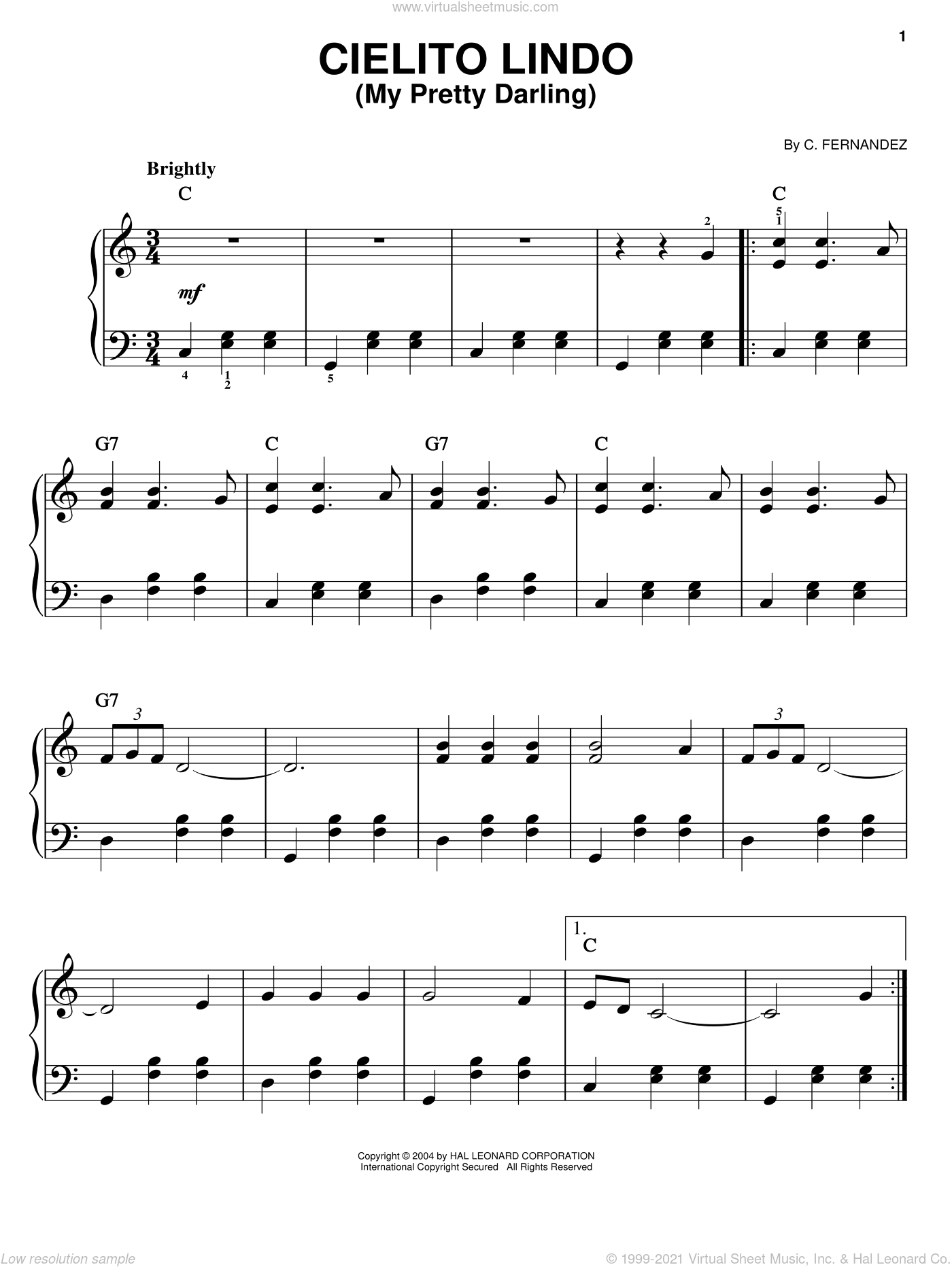 Cielito Lindo (My Pretty Darling) sheet music for piano solo by Cortez Fernandez, easy skill level