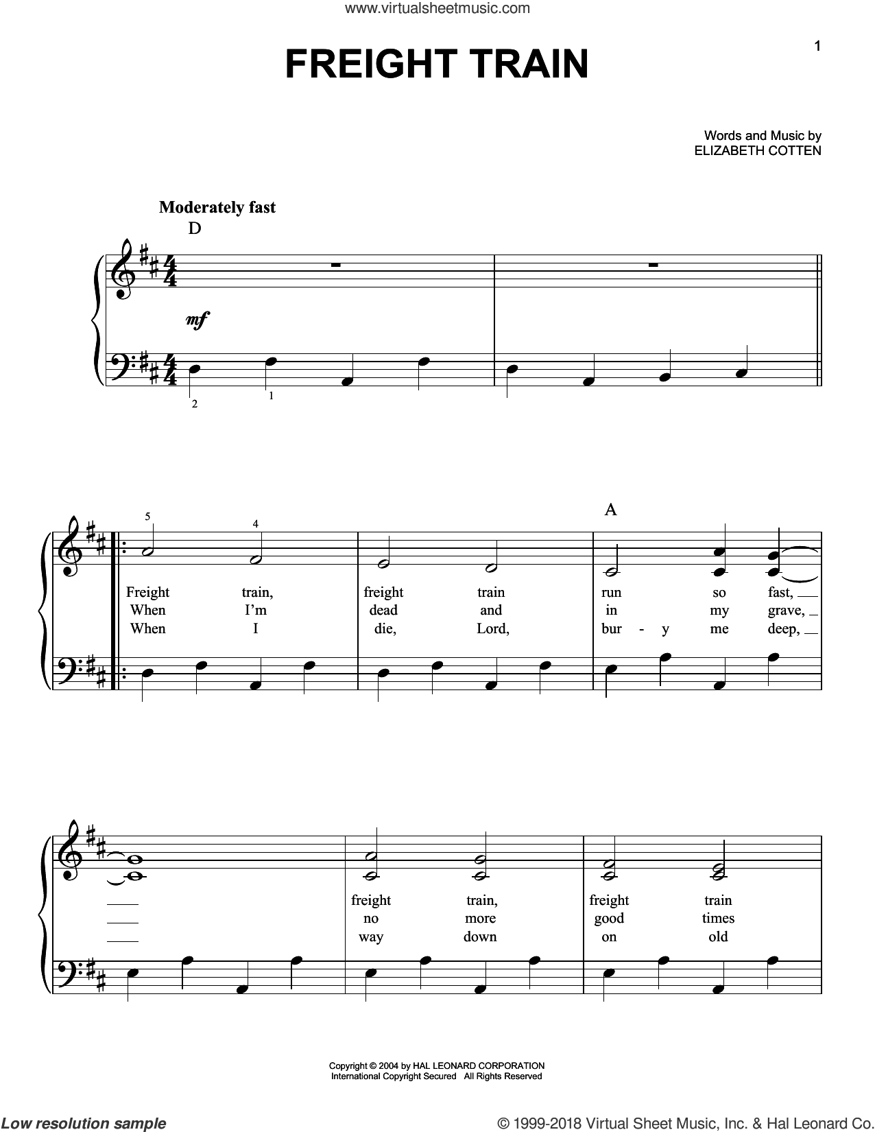 Freight Train sheet music for piano solo by Elizabeth Cotten. Score Image Preview.
