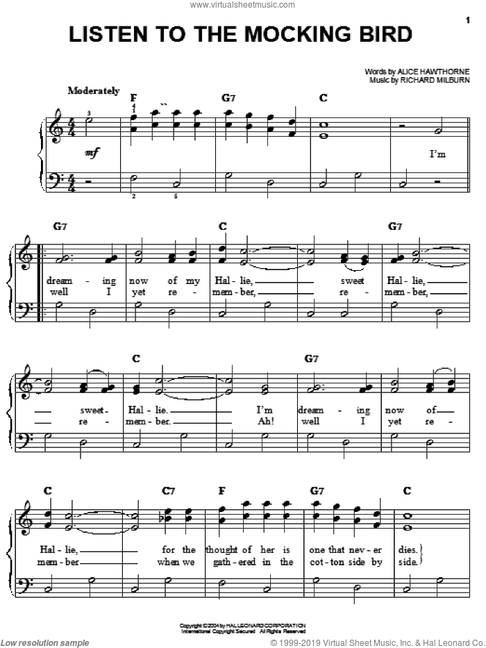Listen To The Mocking Bird sheet music for piano solo by Richard Milburn and Alice Hawthorne. Score Image Preview.