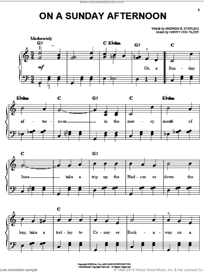 On A Sunday Afternoon sheet music for piano solo by Andrew B. Sterling and Harry von Tilzer, easy skill level