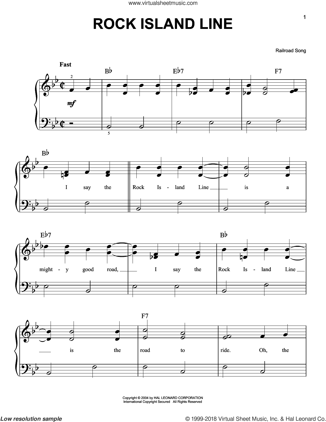 Rock Island Line sheet music for piano solo, easy skill level