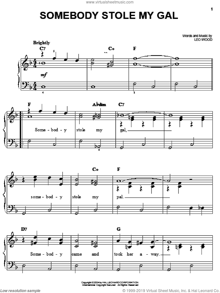 Somebody Stole My Gal sheet music for piano solo by Benny Goodman, Bix Beiderbecke, Thomas Waller and Leo Wood, easy skill level