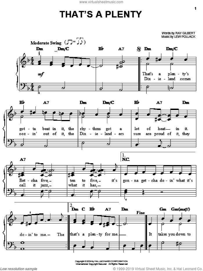 That's A Plenty sheet music for piano solo by Louis Armstrong, Benny Goodman, Sidney Bechet, Lew Pollack and Ray Gilbert, easy skill level