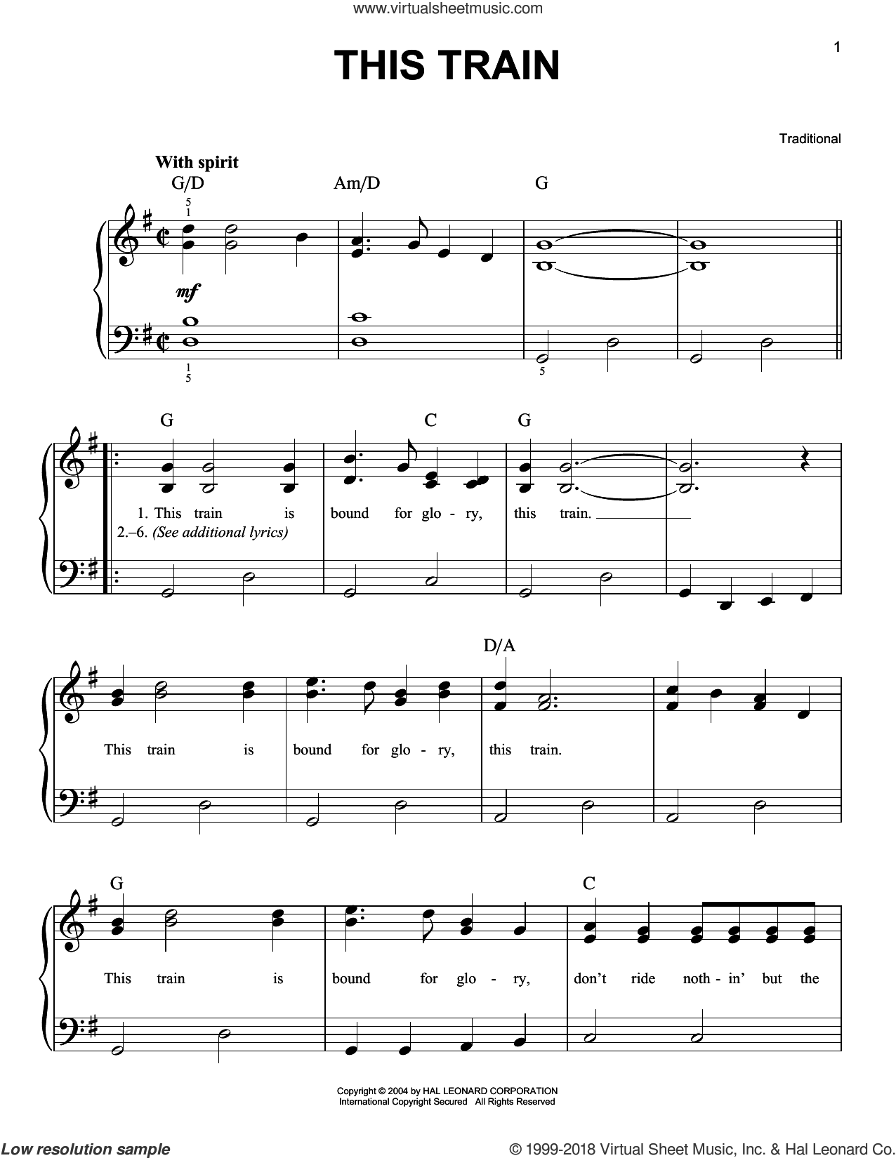 This Train sheet music for piano solo, easy skill level