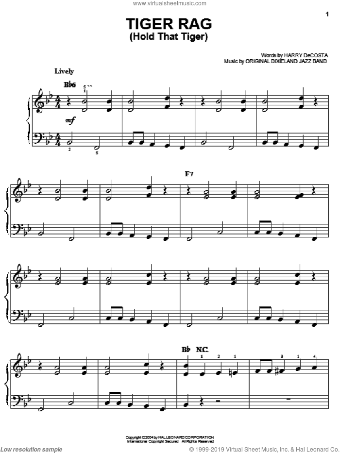 Tiger Rag (Hold That Tiger) sheet music for piano solo by Original Dixieland Jazz Band. Score Image Preview.