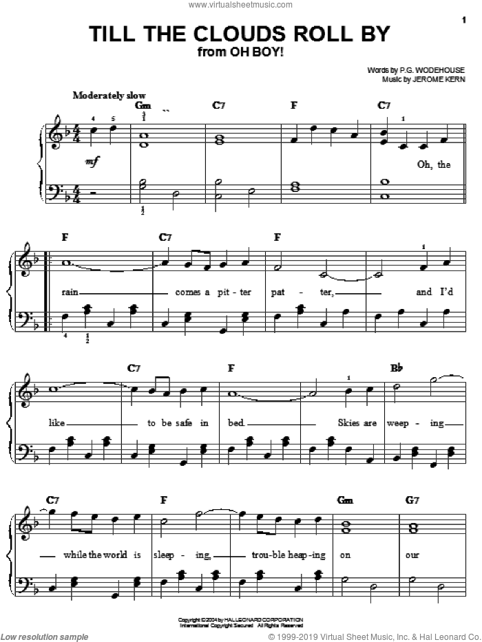 Till The Clouds Roll By sheet music for piano solo by Jerome Kern and P.G. Wodehouse, easy skill level