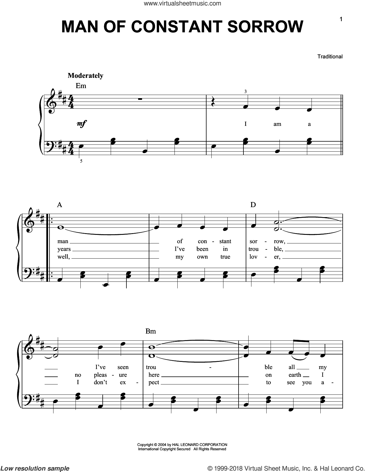 Man Of Constant Sorrow sheet music for piano solo, easy skill level