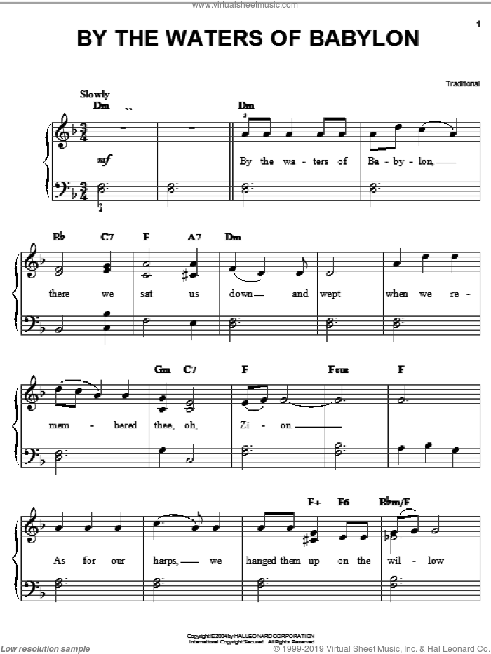 By The Waters Of Babylon sheet music for piano solo, easy skill level