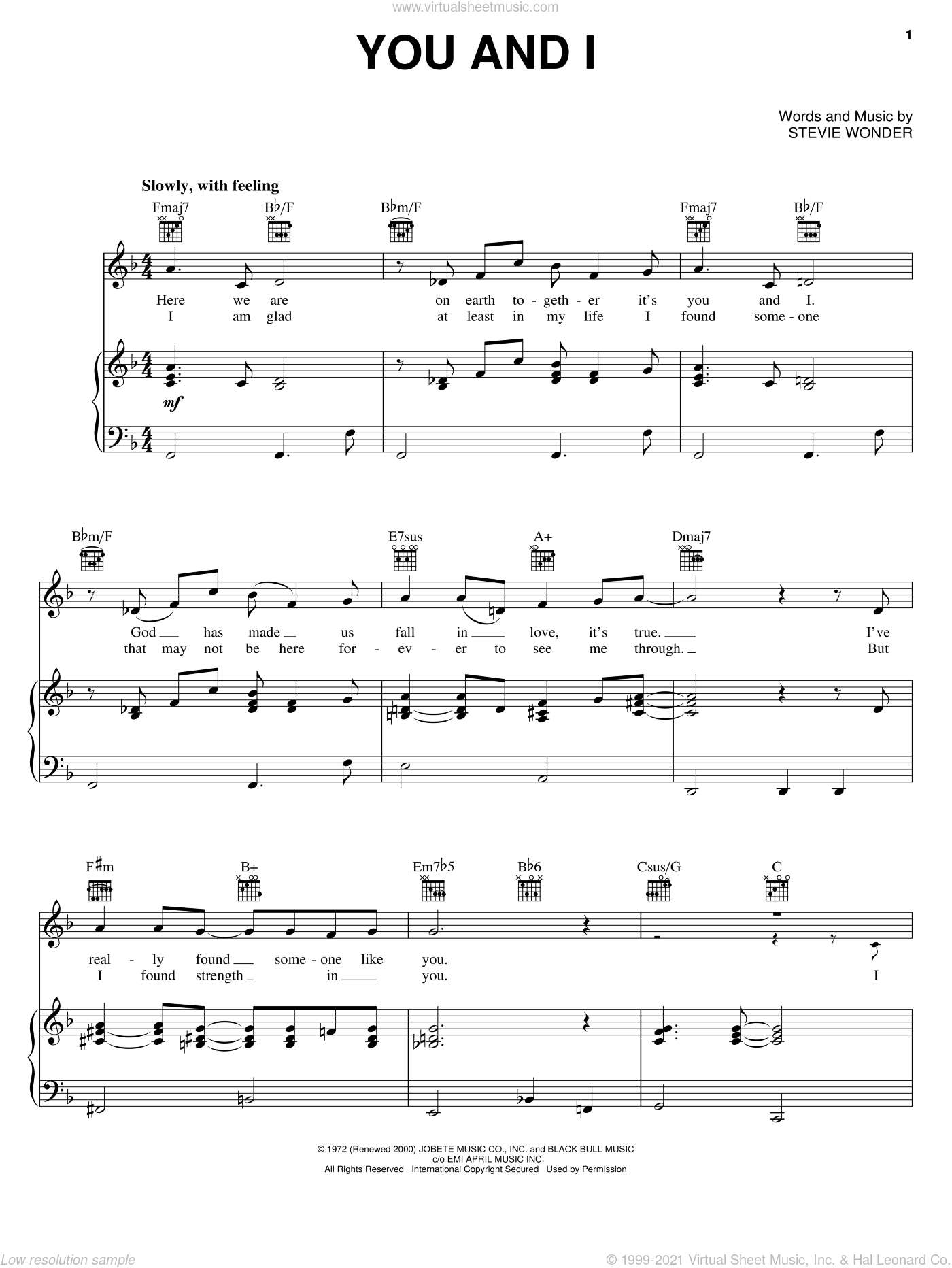 You And I sheet music for voice, piano or guitar by Stevie Wonder, wedding score, intermediate. Score Image Preview.