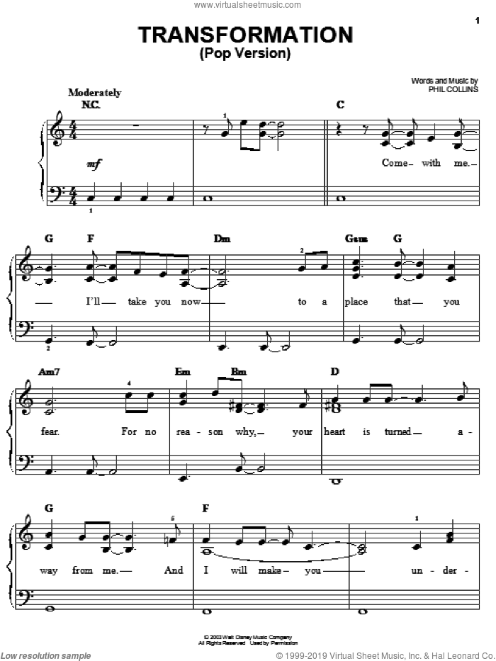 Transformation (Pop Version) sheet music for piano solo by Phil Collins and Brother Bear (Movie), easy skill level
