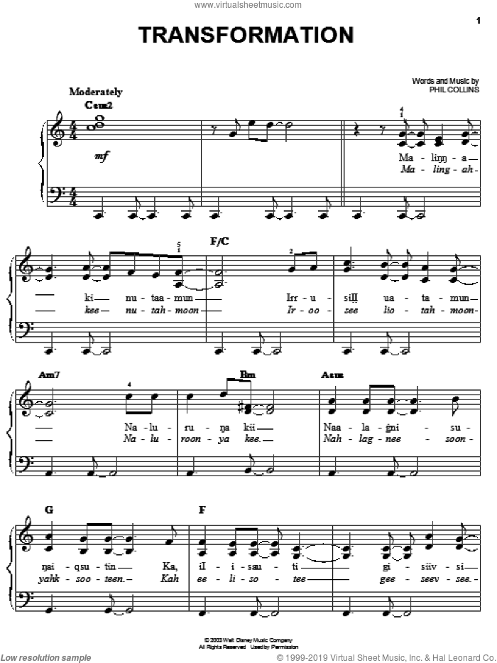 Transformation sheet music for piano solo by Phil Collins and Brother Bear (Movie), easy skill level