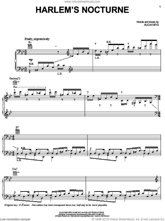 Harlem's Nocturne sheet music for voice, piano or guitar by Alicia Keys, intermediate skill level
