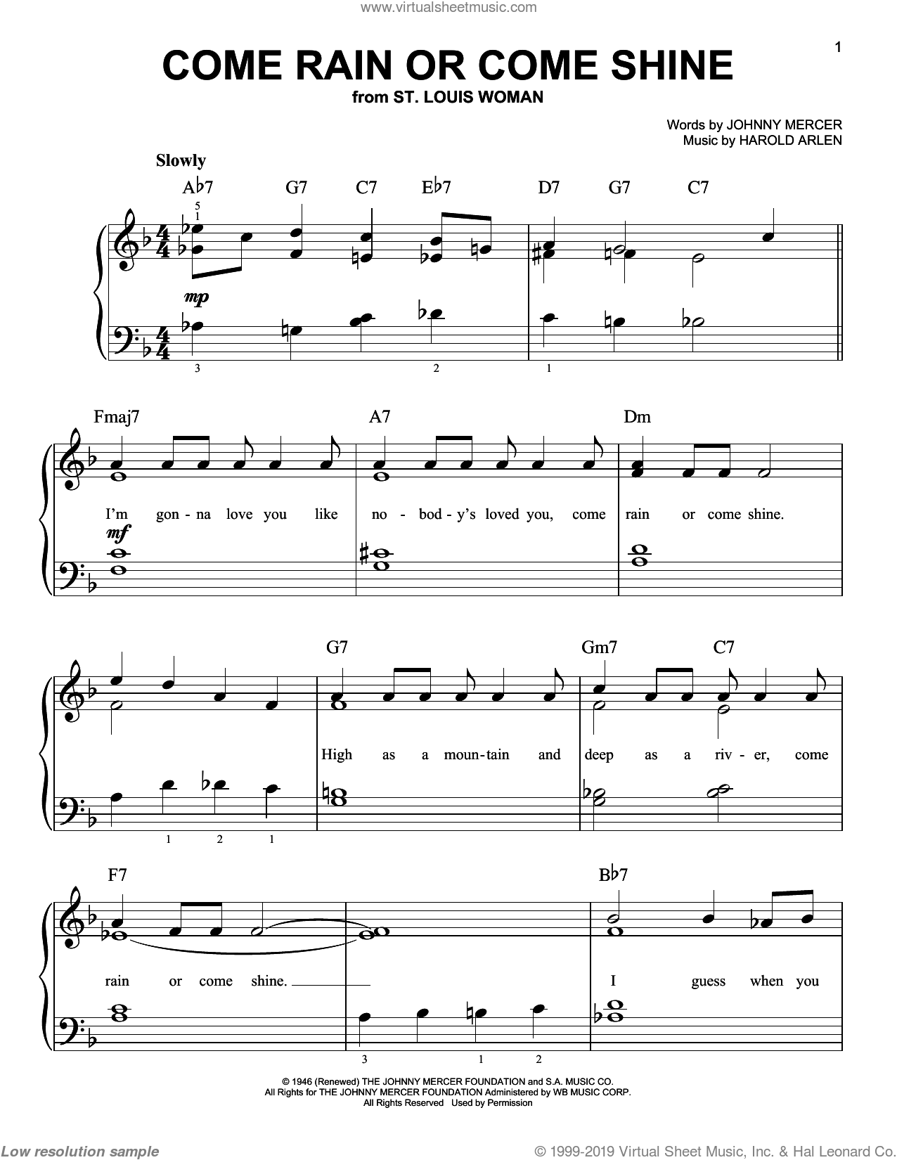 Come Rain Or Come Shine sheet music for piano solo by Frank Sinatra, Harold Arlen and Johnny Mercer, easy. Score Image Preview.