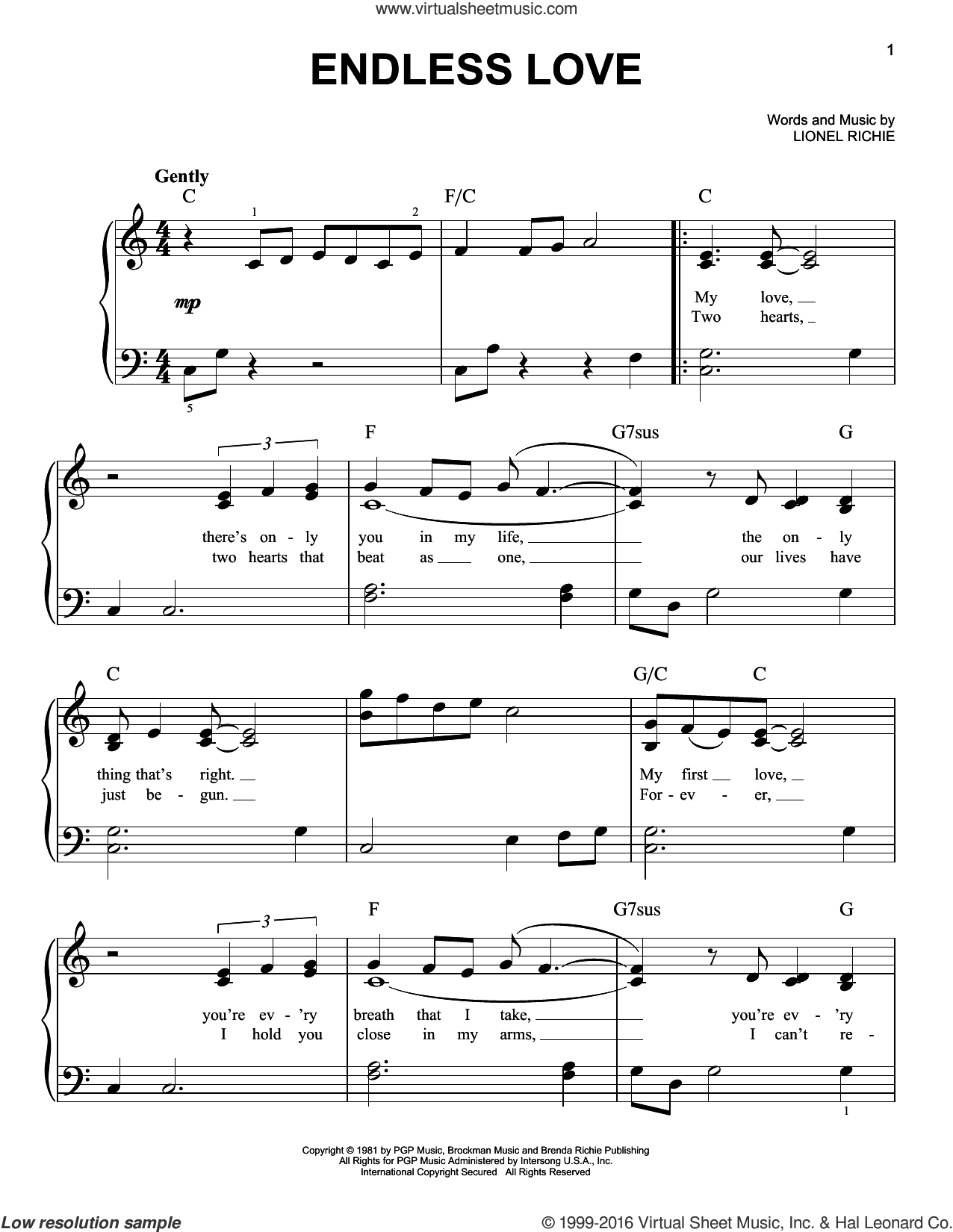 Endless Love sheet music for piano solo by Lionel Richie & Diana Ross, Diana Ross, Miscellaneous and Lionel Richie, wedding score, easy skill level
