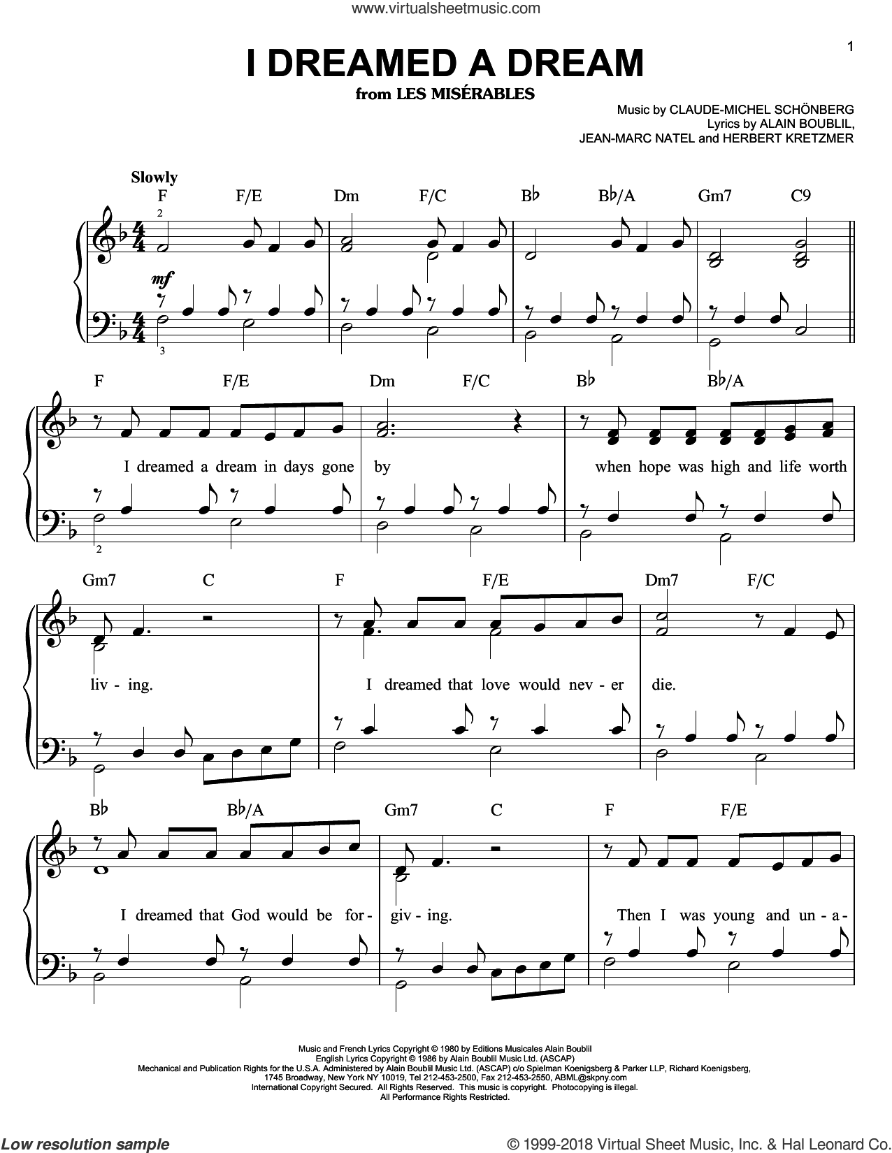 I Dreamed A Dream, (easy) sheet music for piano solo by Claude-Michel Schonberg, Les Miserables (Musical), Miscellaneous, Alain Boublil, Herbert Kretzmer and Jean-Marc Natel, easy skill level