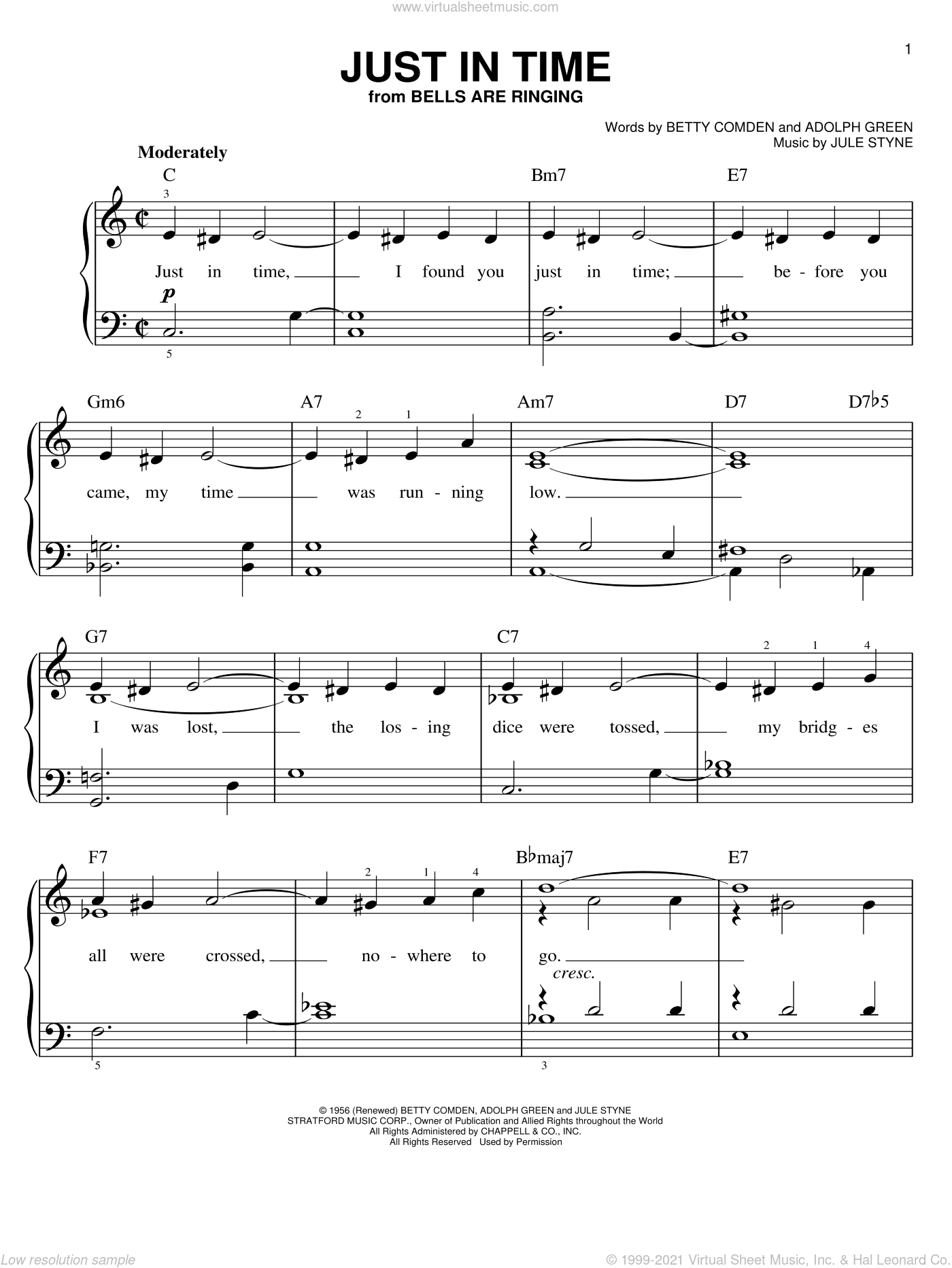 Just In Time sheet music for piano solo by Jule Styne