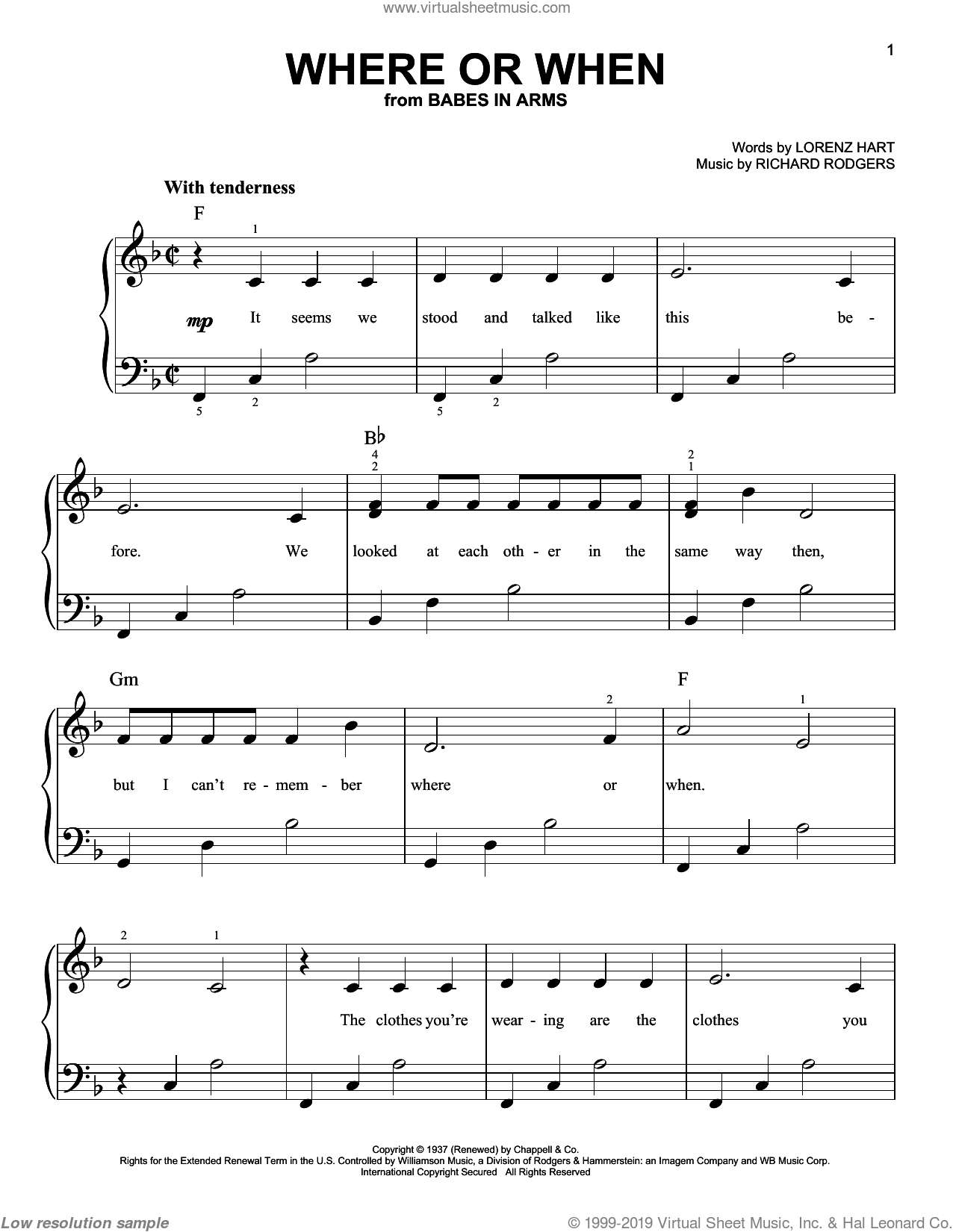 Where Or When sheet music for piano solo by Rodgers & Hart, Babes In Arms (Musical), Dion & The Belmonts, Frank Sinatra, Lena Horne, Lorenz Hart and Richard Rodgers, easy skill level