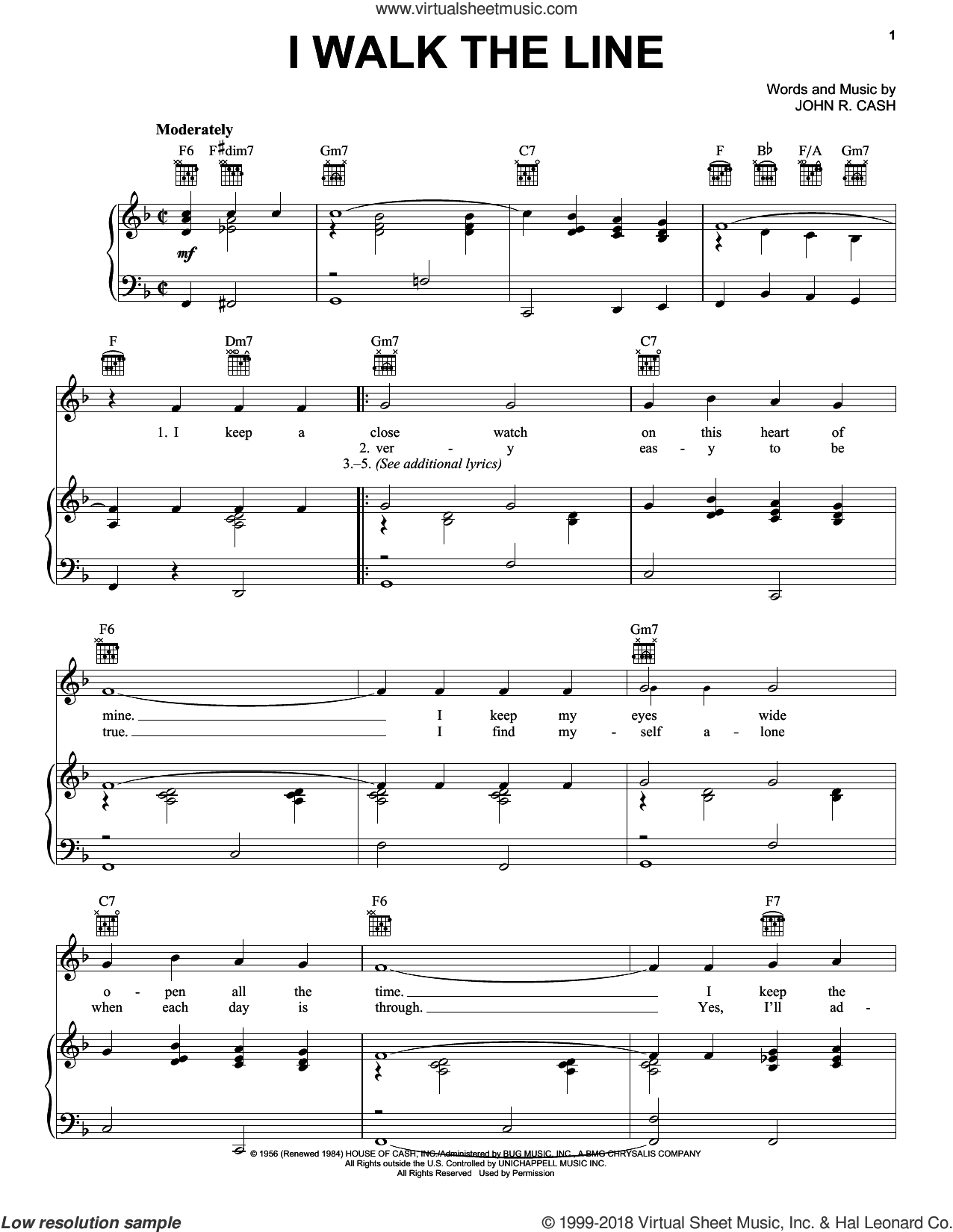 I Walk The Line sheet music for voice, piano or guitar by Johnny Cash and Walk The Line (Movie), intermediate skill level