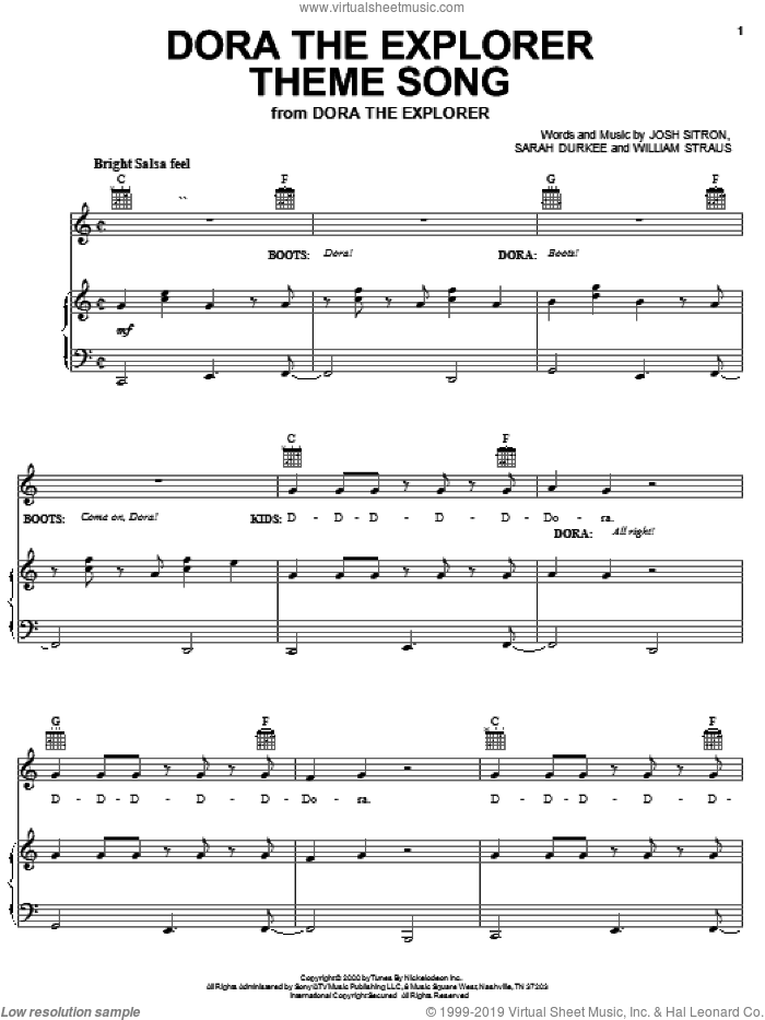 Dora The Explorer Theme Song sheet music for voice, piano or guitar by Josh Sitron, Billy Straus and Sarah Durkee, intermediate skill level