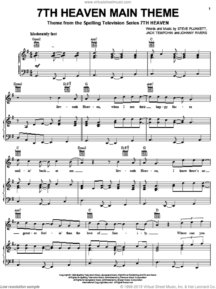 7th Heaven Main Theme sheet music for voice, piano or guitar by Steve Plunkett, Jack Tempchin and Johnny Rivers, intermediate skill level
