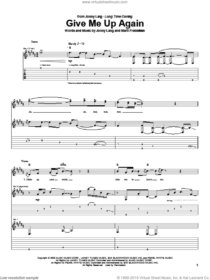 Give Me Up Again sheet music for guitar (tablature) by Jonny Lang and Marti Frederiksen, intermediate skill level