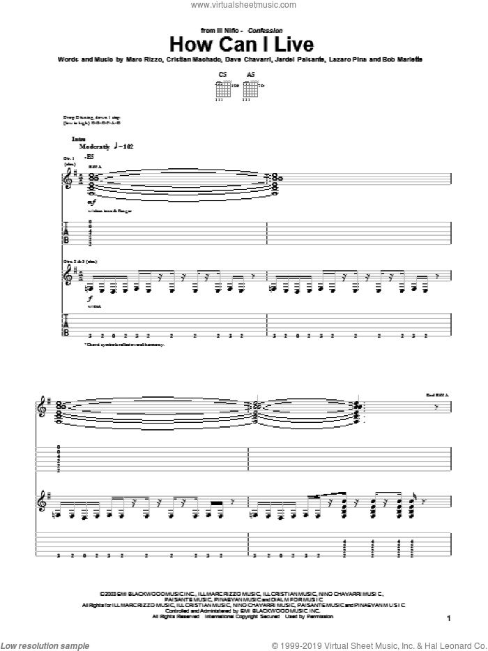 How Can I Live sheet music for guitar (tablature) by Ill Nino. Score Image Preview.