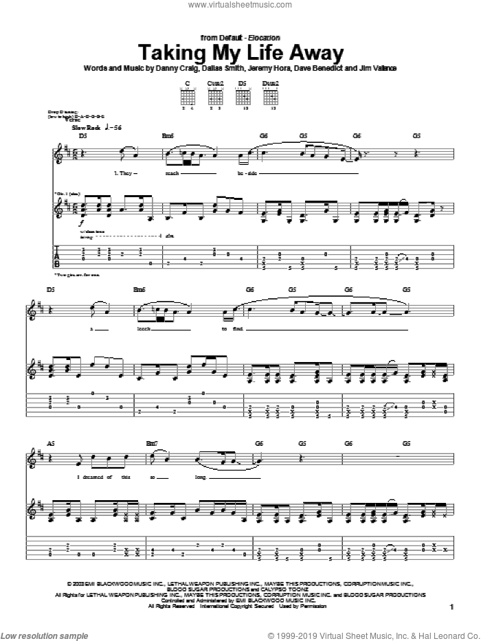 Taking My Life Away sheet music for guitar (tablature) by Jeremy Hora, Default and Danny Craig. Score Image Preview.