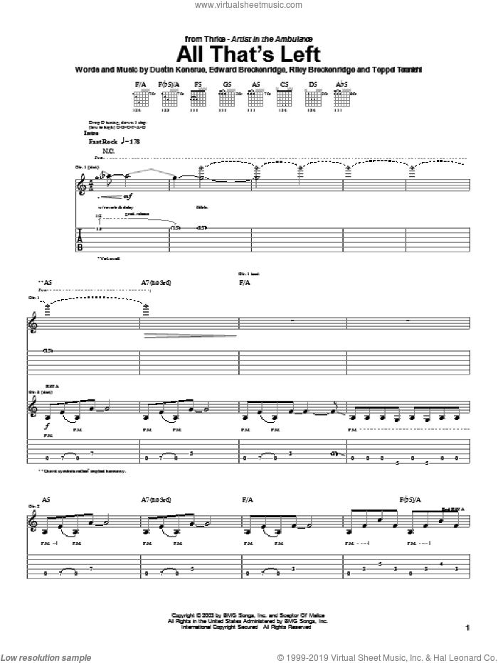 All That's Left sheet music for guitar (tablature) by Thrice, Dustin Kensrue, Edward Breckenridge and Riley Breckenridge, intermediate skill level
