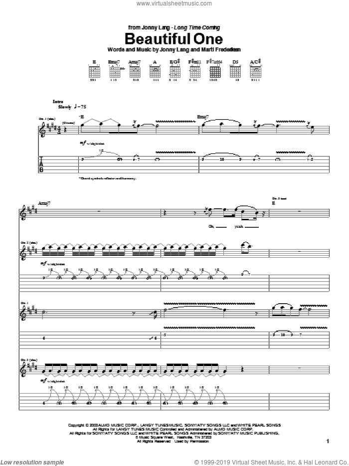 Beautiful One sheet music for guitar (tablature) by Marti Frederiksen and Jonny Lang. Score Image Preview.