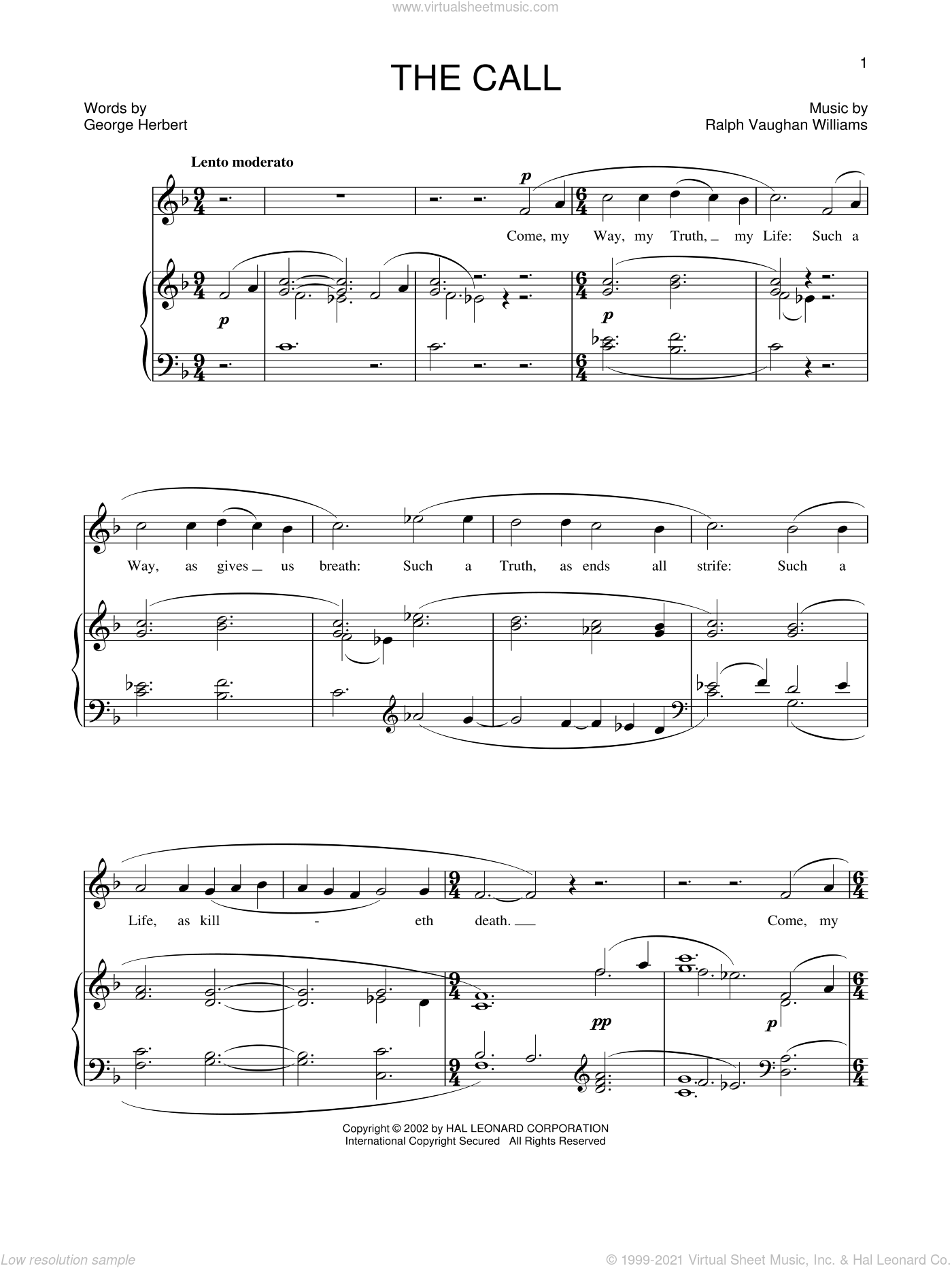 The Call sheet music for voice and piano by Ralph Vaughan Williams, intermediate. Score Image Preview.
