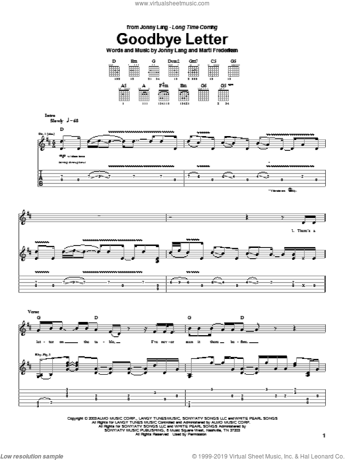 Goodbye Letter sheet music for guitar (tablature) by Jonny Lang and Marti Frederiksen, intermediate skill level