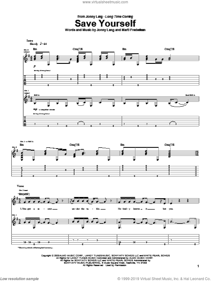 Save Yourself sheet music for guitar (tablature) by Jonny Lang and Marti Frederiksen, intermediate skill level