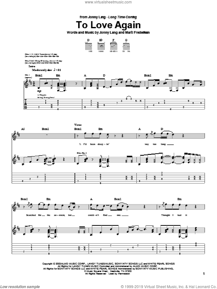 To Love Again sheet music for guitar (tablature) by Jonny Lang and Marti Frederiksen, intermediate. Score Image Preview.