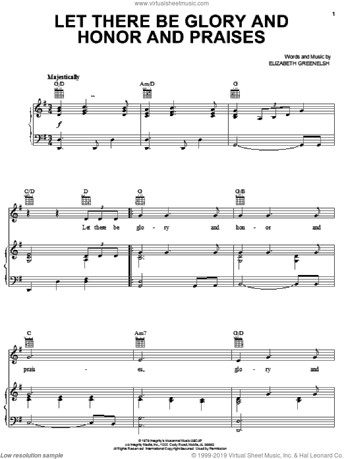 Let There Be Glory And Honor And Praises sheet music for voice, piano or guitar by Elizabeth Greenelsh, intermediate skill level