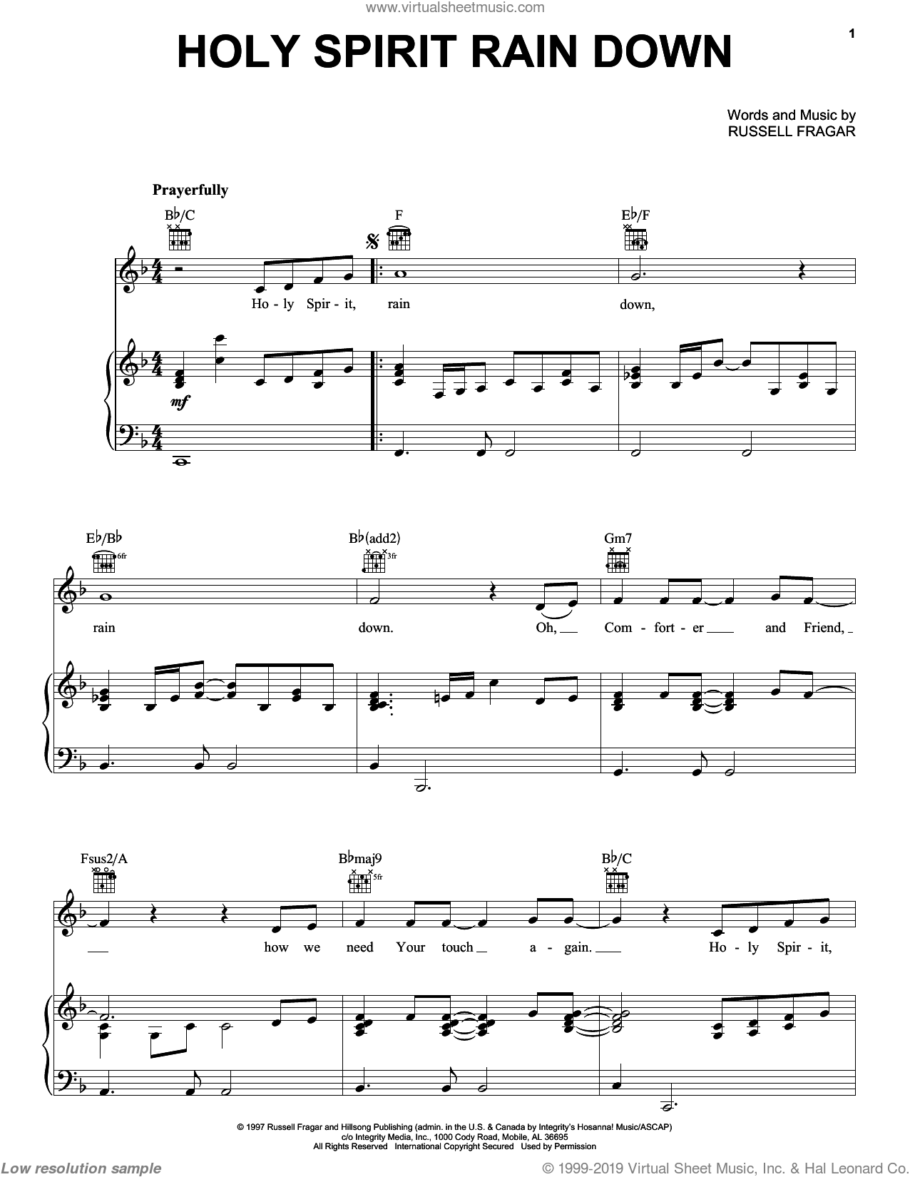 Holy Spirit Rain Down sheet music for voice, piano or guitar by Russell Fragar. Score Image Preview.