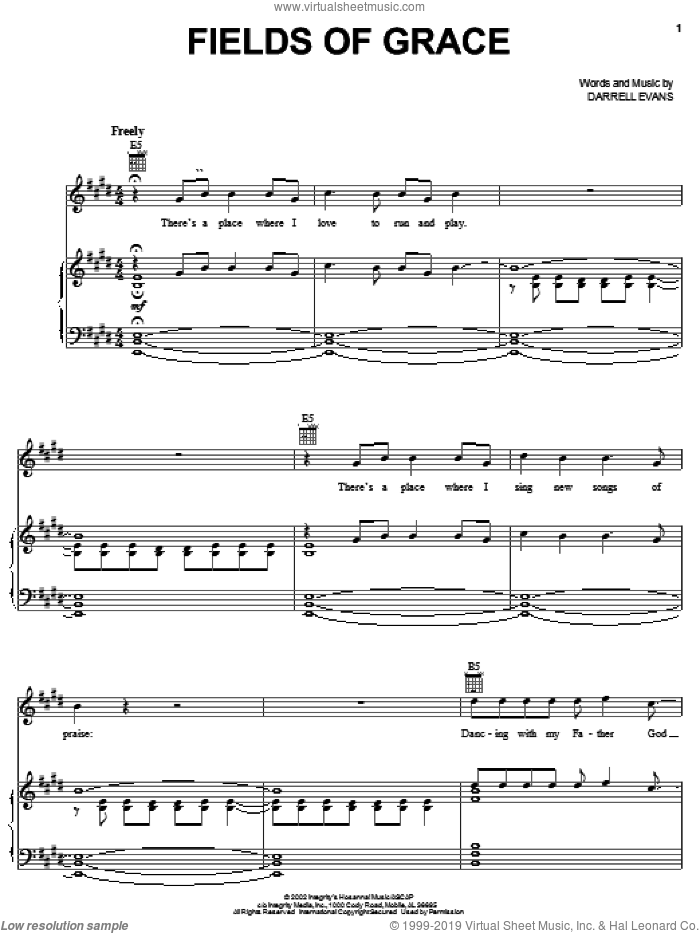 Fields Of Grace sheet music for voice, piano or guitar by Darrell Evans, intermediate skill level