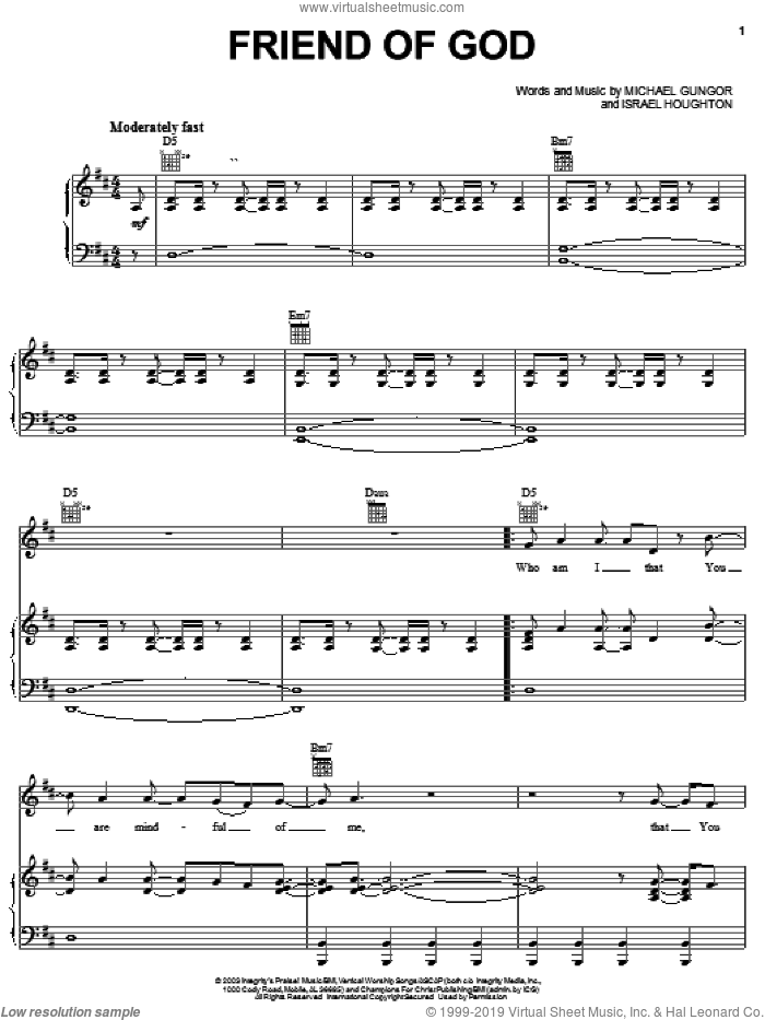Friend Of God sheet music for voice, piano or guitar by Israel Houghton and Michael Gungor. Score Image Preview.