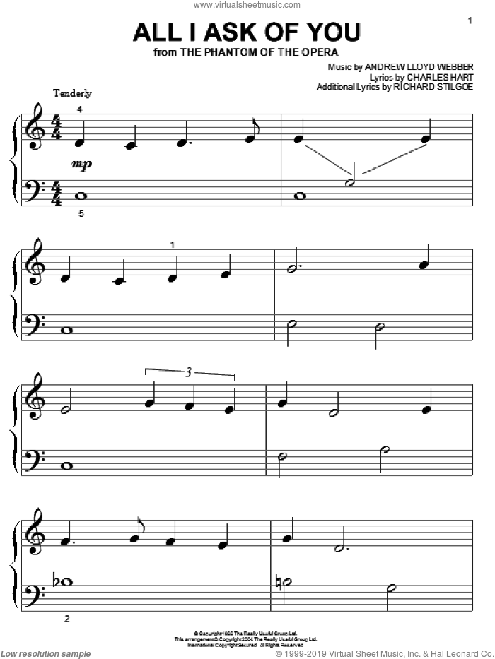 All I Ask Of You (from The Phantom Of The Opera) sheet music for piano solo (big note book) by Andrew Lloyd Webber, The Phantom Of The Opera (Musical), Charles Hart and Richard Stilgoe, wedding score, easy piano (big note book)