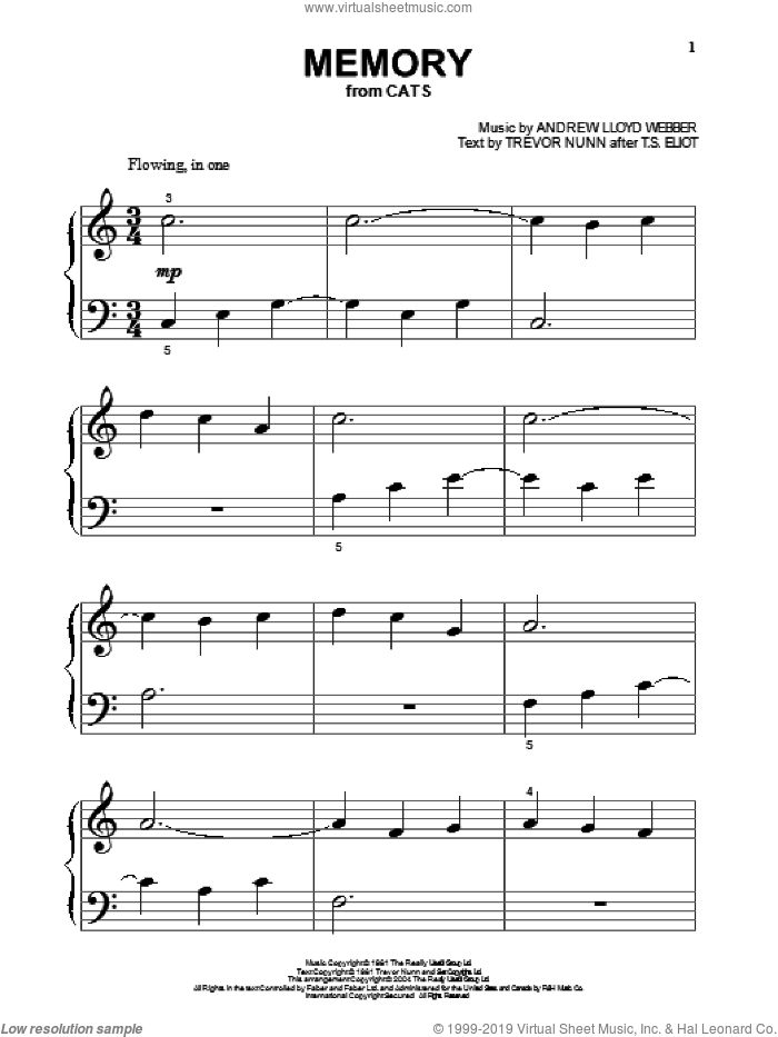Memory (from Cats) sheet music for piano solo (big note book) by Andrew Lloyd Webber, Cats (Musical), T.S. Eliot and Trevor Nunn, easy piano (big note book)