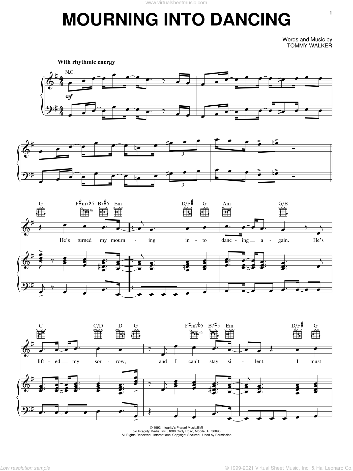 Mourning Into Dancing sheet music for voice, piano or guitar by The Insyderz and Tommy Walker, intermediate skill level