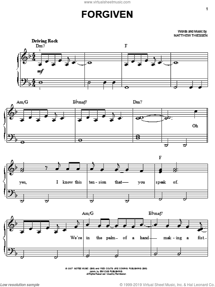 Forgiven sheet music for piano solo by Relient K and Matthew Thiessen, easy skill level