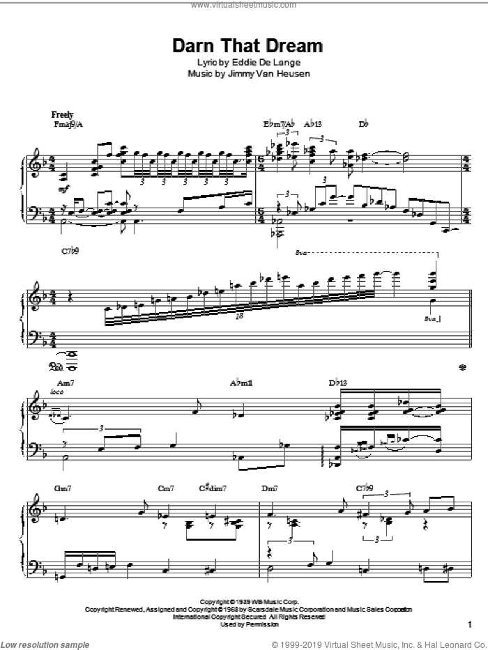 Darn That Dream sheet music for piano solo by McCoy Tyner, Miles Davis, Thelonious Monk, Eddie DeLange and Jimmy Van Heusen. Score Image Preview.