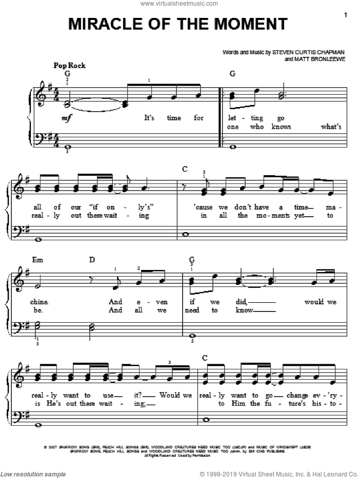 Miracle Of The Moment sheet music for piano solo by Steven Curtis Chapman and Matt Bronleewe, easy skill level