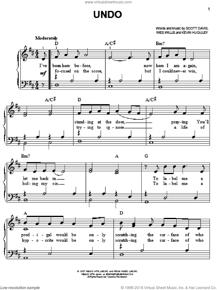 Undo sheet music for piano solo by Rush Of Fools, easy. Score Image Preview.