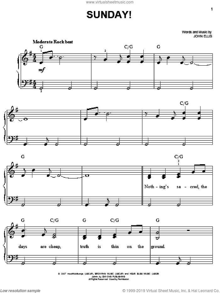 Sunday! sheet music for piano solo by Tree63 and John Ellis, easy skill level