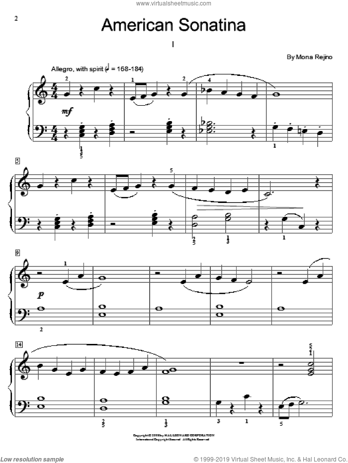 American Sonatina sheet music for piano solo (elementary) by Mona Rejino