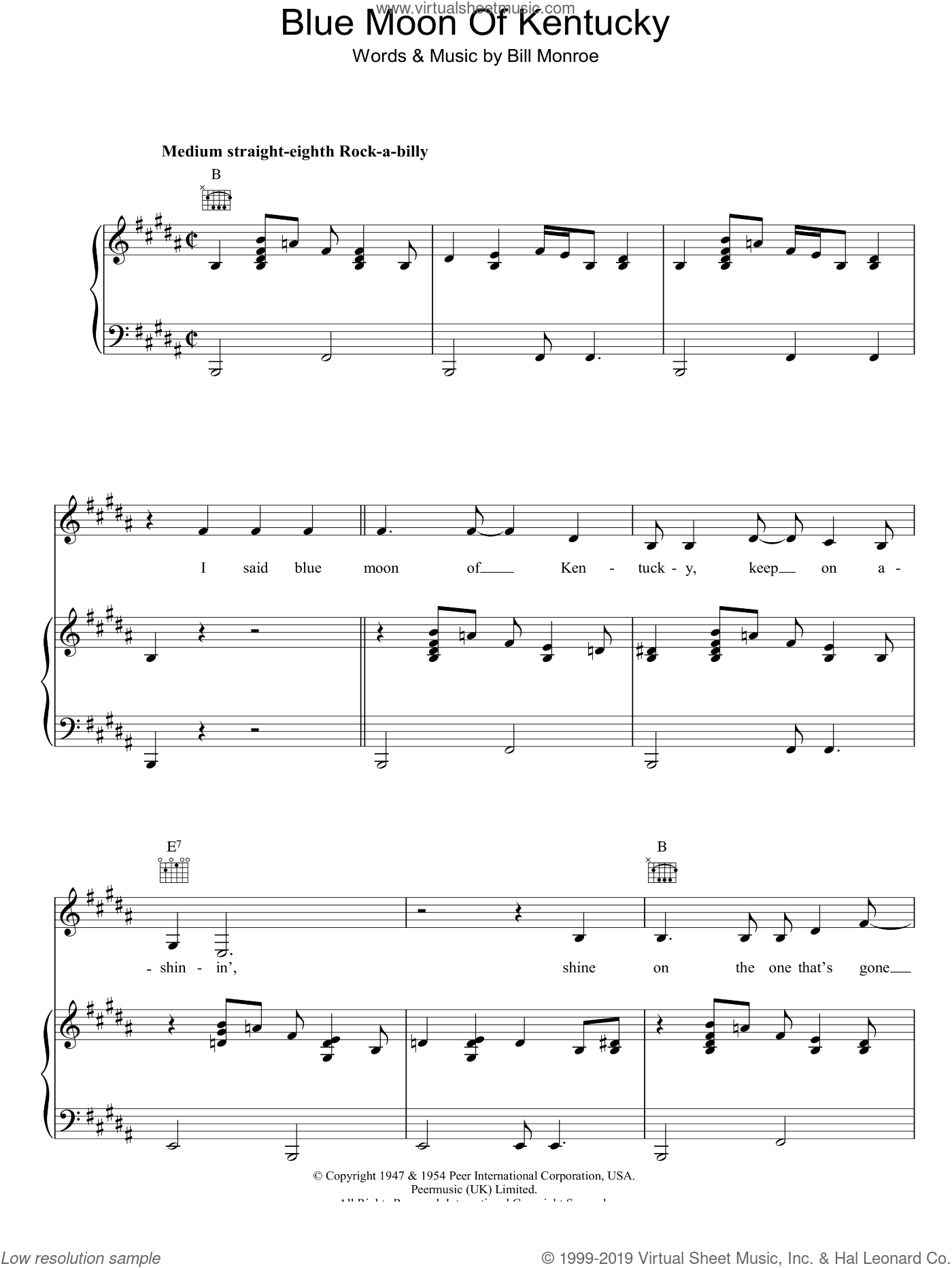 Blue Moon Of Kentucky sheet music for voice, piano or guitar by Bill Monroe and Elvis Presley, intermediate skill level