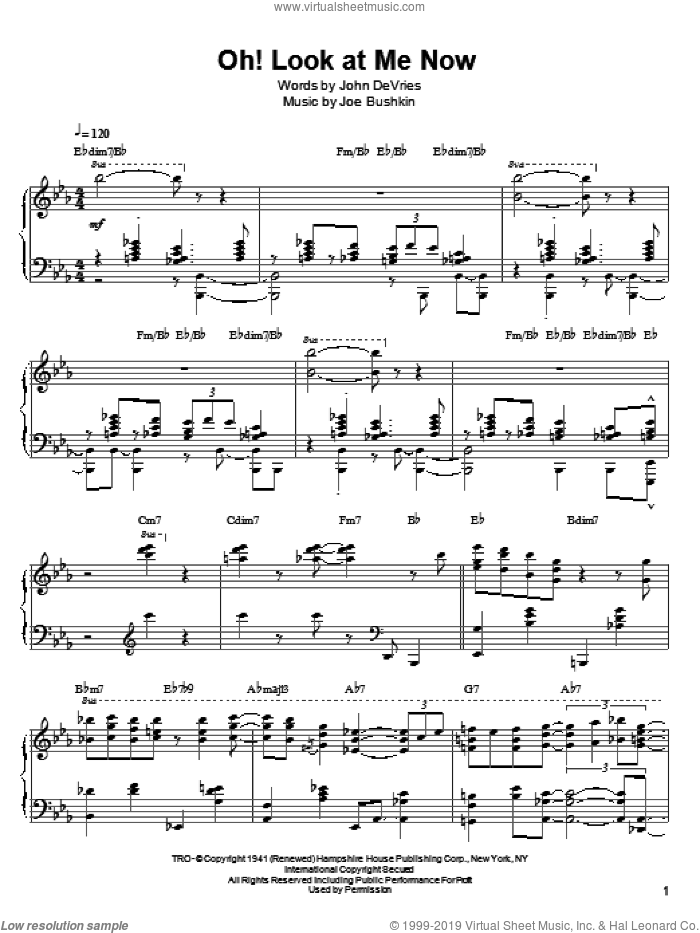 Oh! Look At Me Now sheet music for piano solo by John DeVries