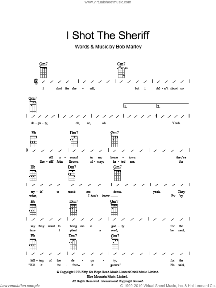 I Shot The Sheriff sheet music for ukulele (chords) by Bob Marley