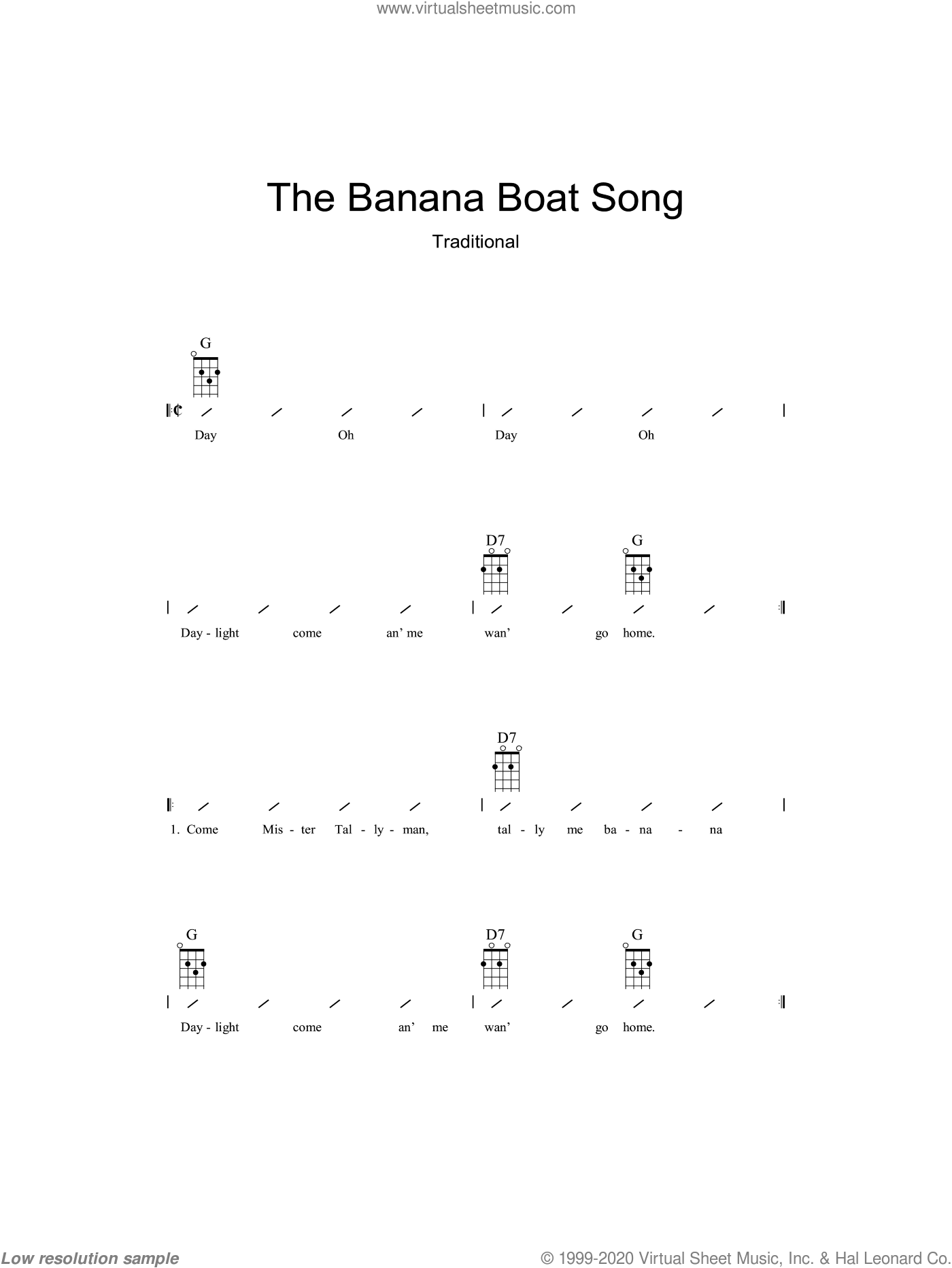 The Banana Boat Song (Day-O) sheet music for ukulele (chords). Score Image Preview.